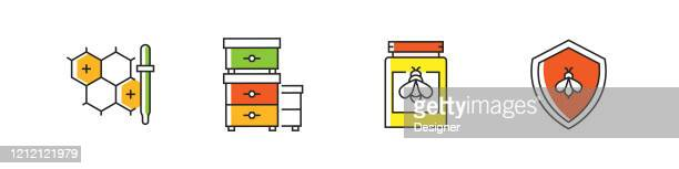 apiary related vector line icons. outline symbol collection. - worker bee stock illustrations