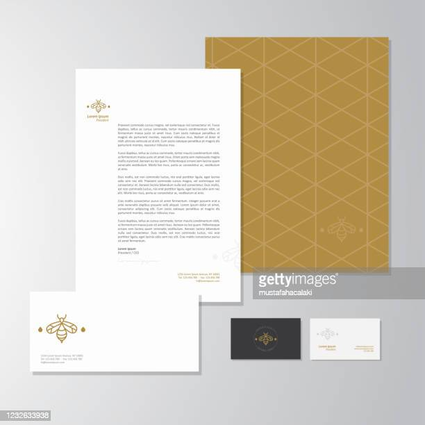 imkerei geschäft briefpapier design - brief dokument stock-grafiken, -clipart, -cartoons und -symbole