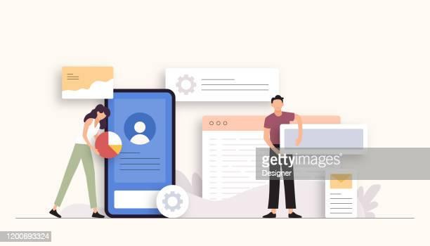 illustrazioni stock, clip art, cartoni animati e icone di tendenza di illustrazione vettoriale correlata alla progettazione e allo sviluppo delle app. design moderno piatto - rosa pallido