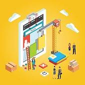 App engineers building mobile web app ux interface
