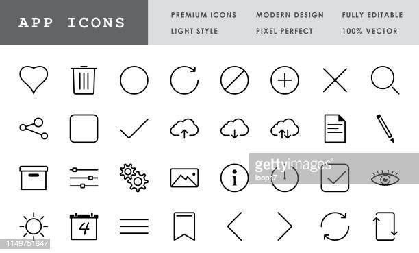 app icon collection - 32 pixel perfect vector icons - loading stock illustrations