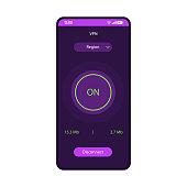 VPN app smartphone interface vector template