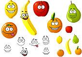 Appetizing fresh cartoon fruits