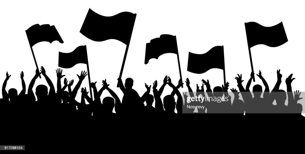 Applause crowd silhouette, cheerful people. Sports fans with flags
