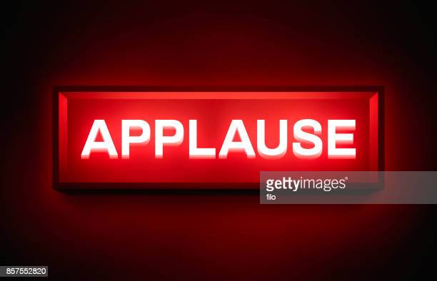 applause glowing sign - applauding stock illustrations, clip art, cartoons, & icons