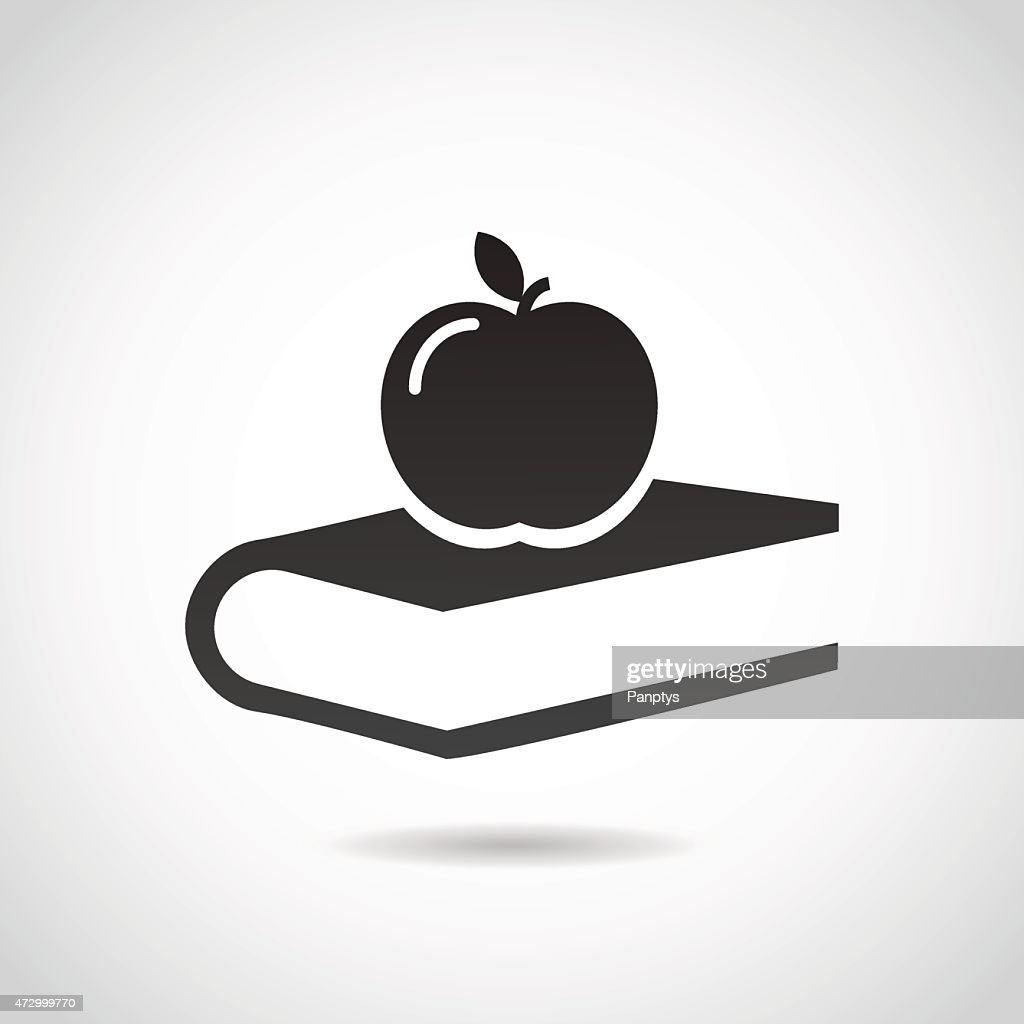 Apple and book - education icon.