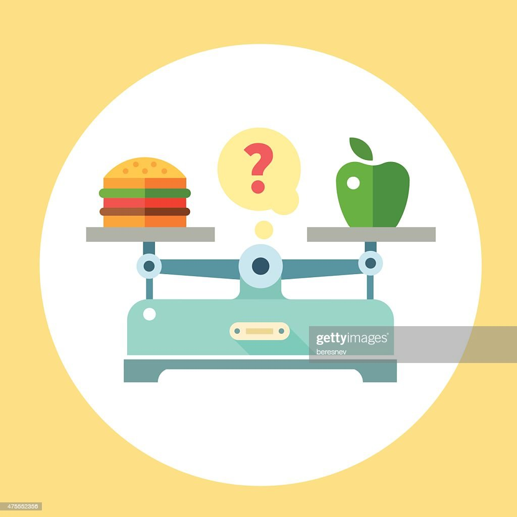 Apple and hamburger on scales