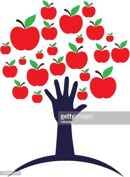 apple und hand in form eines baumes, isoliert auf weiss - apple logo stock-grafiken, -clipart, -cartoons und -symbole