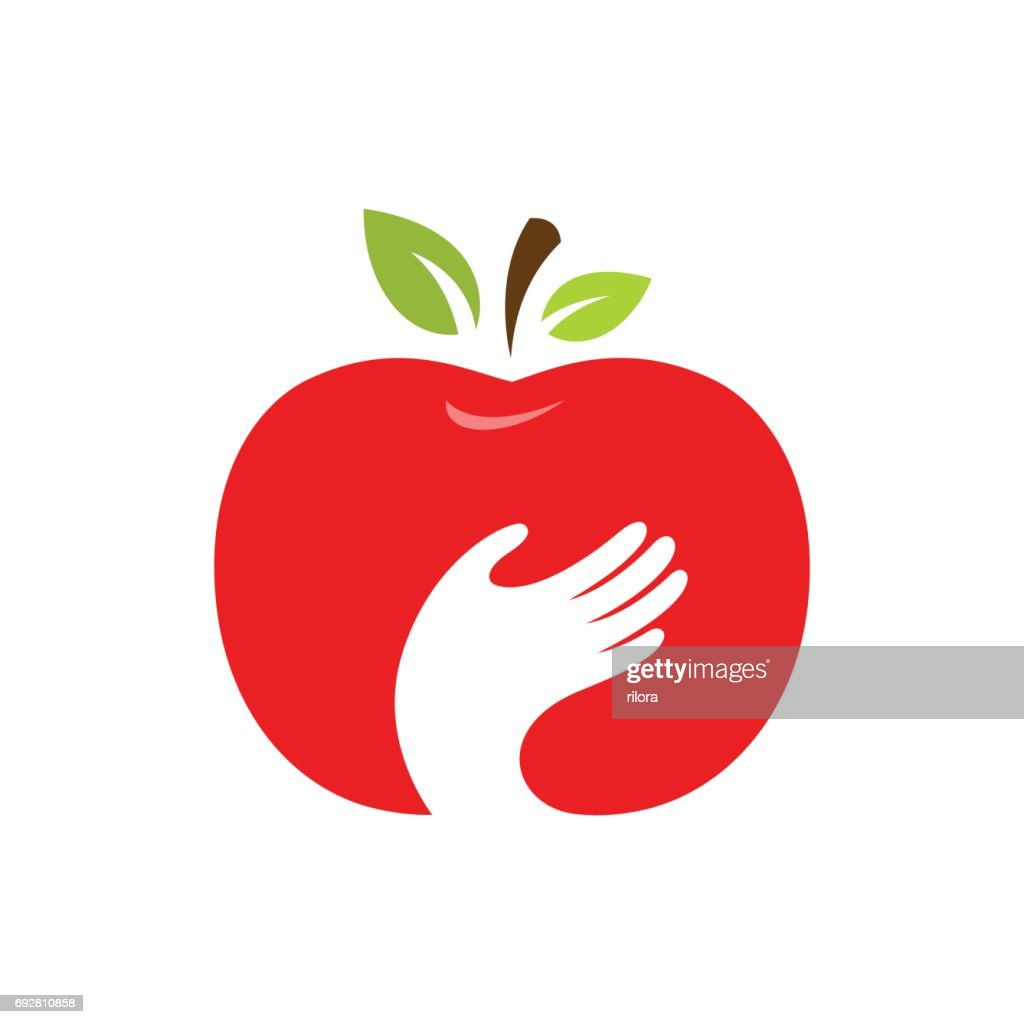 Apple and hand vector icon, label, emblem design