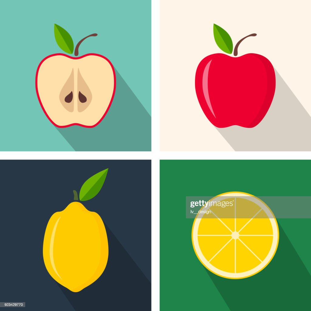 Apple and lemon. Colorful flat design. Fruits with long shadow. Vector icons set
