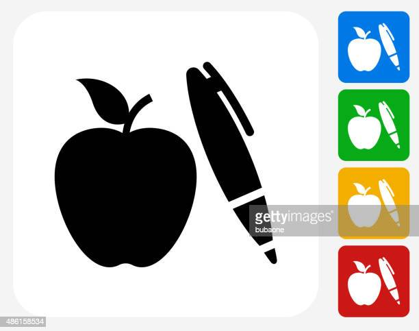Apple and Pen Icon Flat Graphic Design