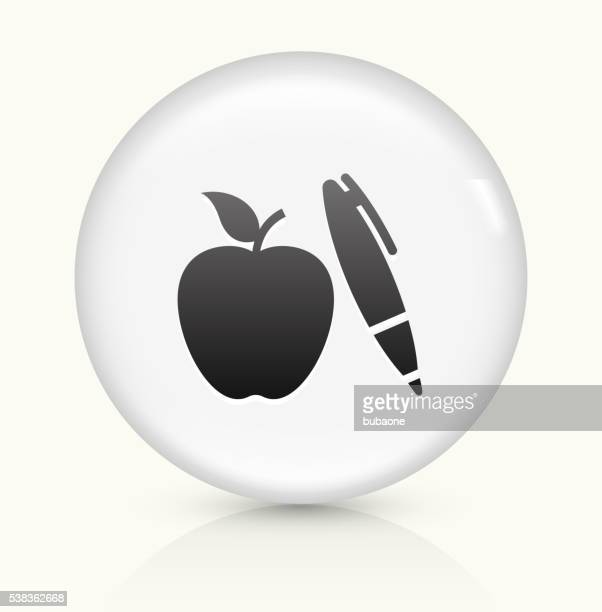 Apple and Pen icon on white round vector button