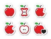 Apple, apple core, bitten, half vector labels set