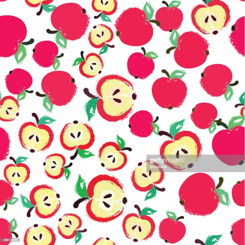 Apple Background Painted Pattern