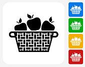 Apple Basket Icon Flat Graphic Design