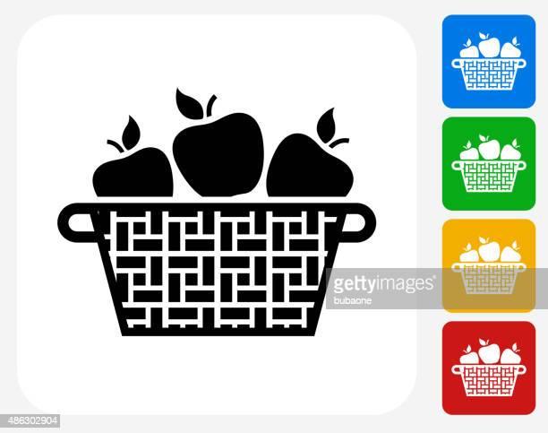 apple basket icon flat graphic design - basket stock illustrations, clip art, cartoons, & icons