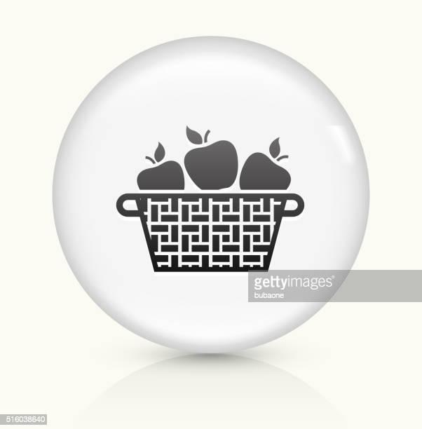 Apple Basket icon on white round vector button