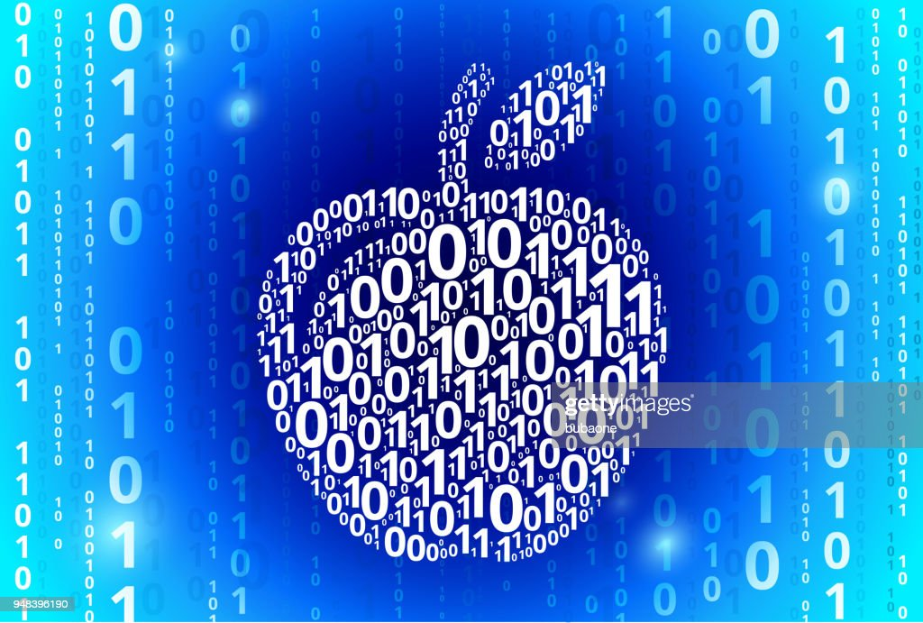 apple binary code blue vector pattern background vector art getty