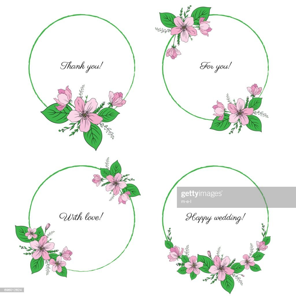 Apple blossom flower, bud, leaves, branch vector colorful botanical sketch hand drawn isolated on white, vintage romantic round frame, wreath for greeting card, wedding invitations, cosmetic