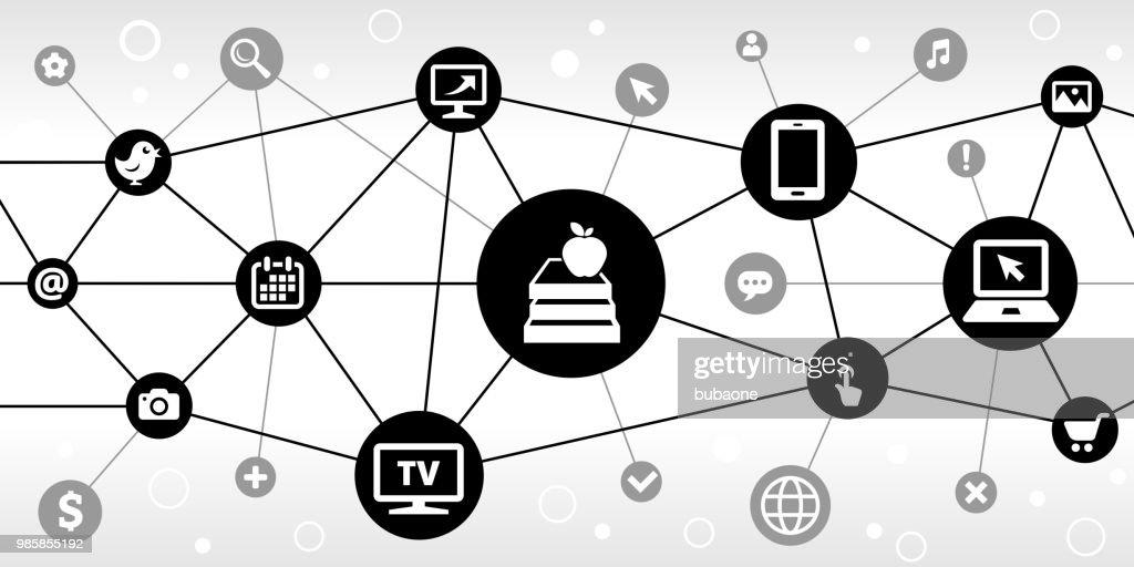 Apple & Books Internet Communication Technology Triangular Node Pattern Background