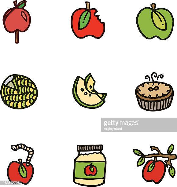 Apple cartoon doodle icons