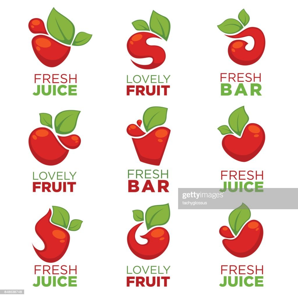 apple cherry fruit and fresh juice vector collection symbols and