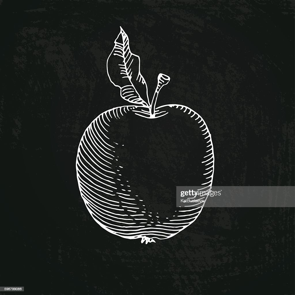 apple, drawn in chalk on a blackboard