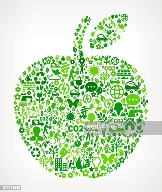 apple environmental conservation and nature royalty free vector art pattern - icon collage stock illustrations