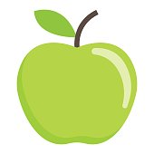 Apple flat icon, fruit and diet, vector graphics, a colorful solid pattern on a white background, eps 10.