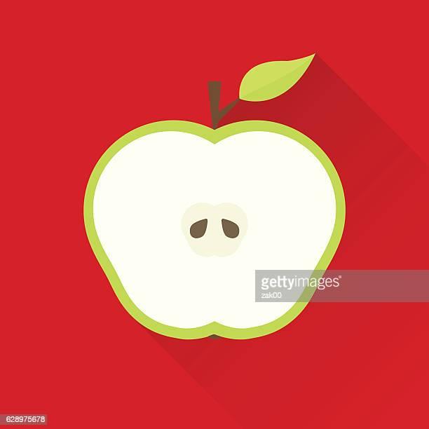 ilustraciones, imágenes clip art, dibujos animados e iconos de stock de icono de apple plana - largo longitud