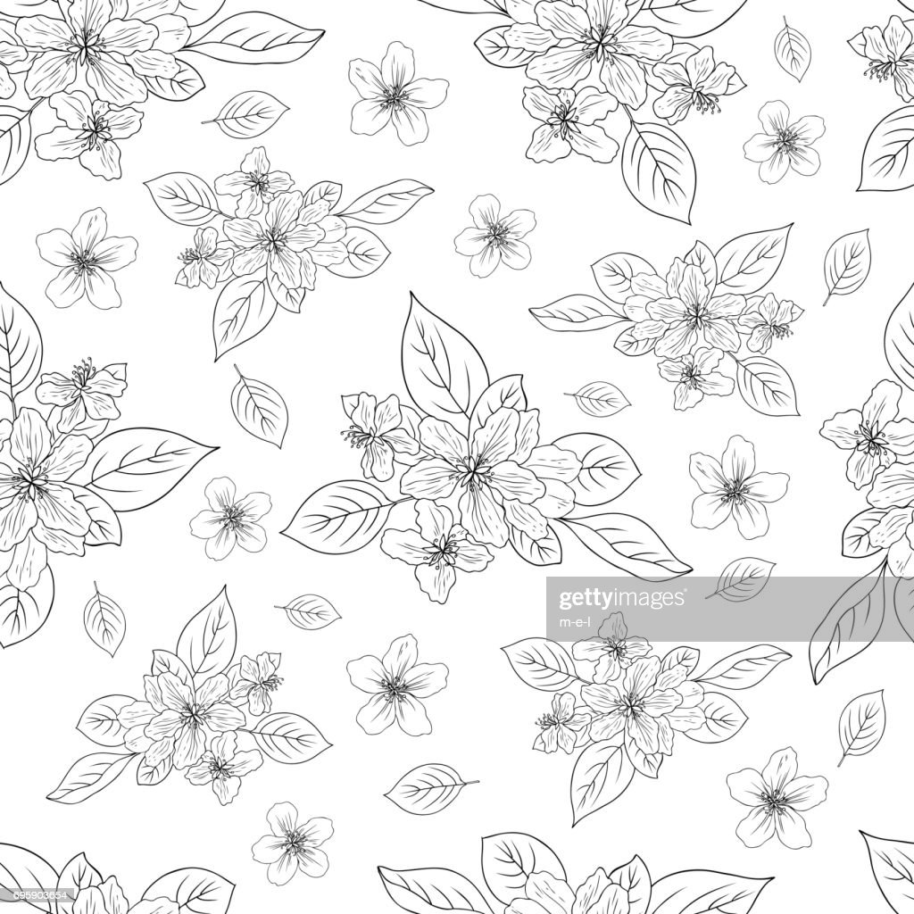 Apple flower blossom hand drawn isolated on white background, seamless vector floral pattern, pink sakura outline art for greeting card, package design cosmetic, wedding invitations, wallpaper beauty