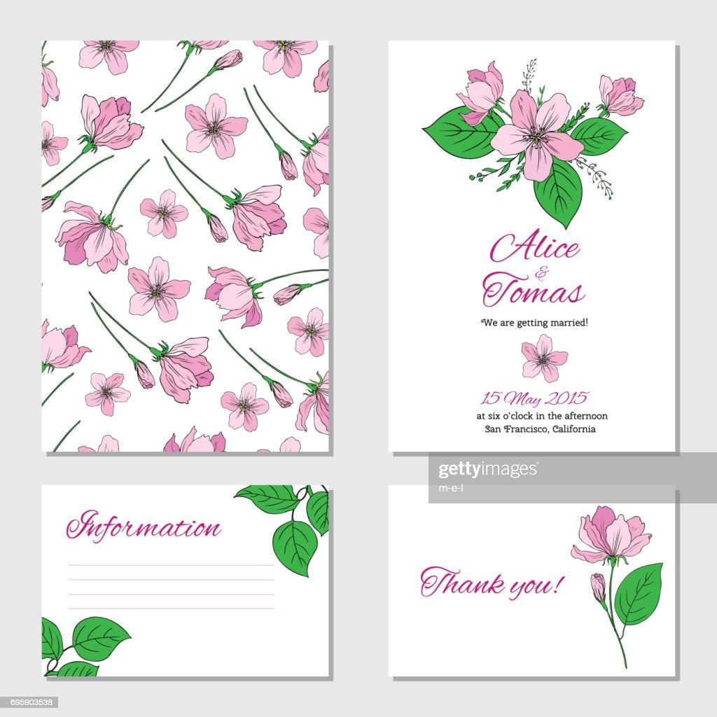 Apple flower, leaf hand drawn isolated on white background, seamless vector floral pattern, pink sakura line art texture , decorative frame, design greeting card, wedding invitation, package cosmetics