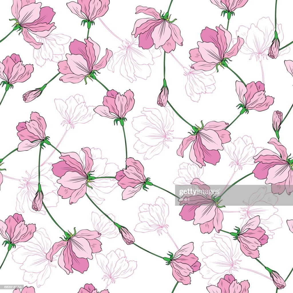 Apple flower tree blossom bud, leaf, branch colorful botanical sketch hand drawn isolated on white, seamless vector pattern for greeting card, package design cosmetic, tea, wedding invitation