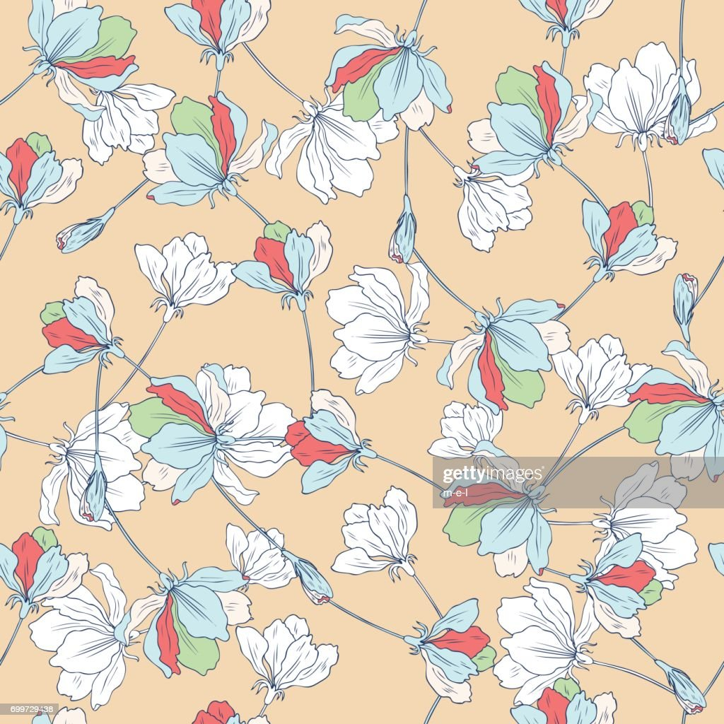 Apple flower tree blossom hand drawn isolated on light background, seamless vector floral pattern, decorative sakura for greeting card, package design cosmetic, wedding invitation, wallpaper beauty