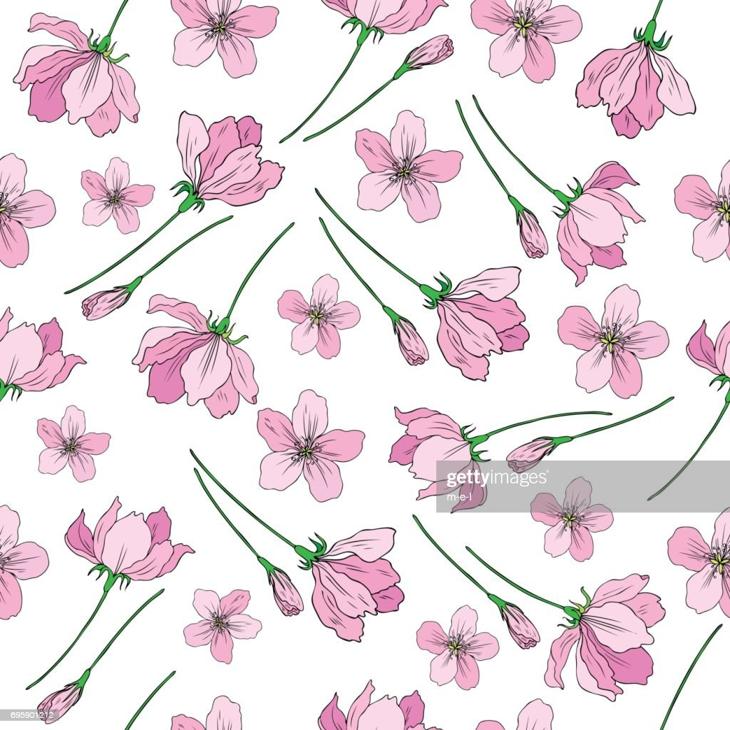 Apple flowers tree blossom, bud, leaf, branch colorful botanical sketch hand drawn isolated on white, seamless vector pattern for greeting card, package design cosmetic, wedding invitation, wallpaper