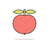 Apple fruit color thin line icon.Vector illustration