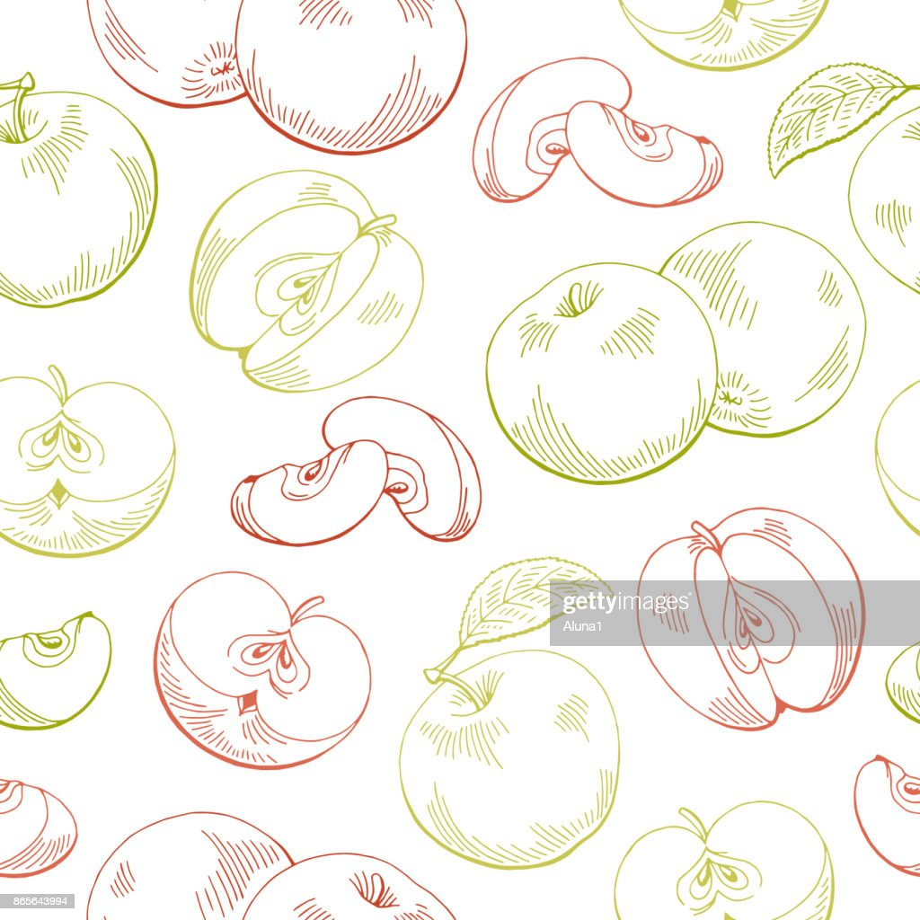 Apple graphic red green color seamless pattern sketch illustration vector