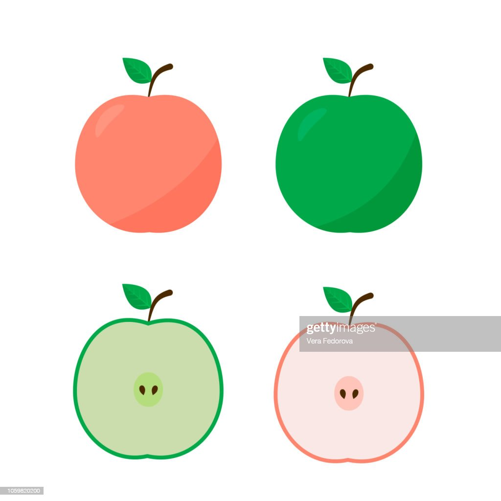 Apple icon flat style whole and half isolated on white background. Natural organic food concept. Fresh fruits vector illustration.