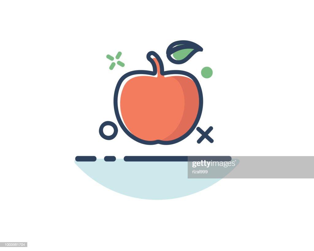 apple icon line filled design illustration