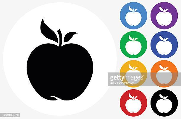 Apple Icon on Flat Color Circle Buttons