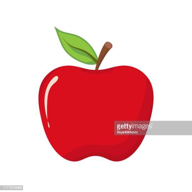 ilustraciones, imágenes clip art, dibujos animados e iconos de stock de icono de apple sobre fondo blanco. ilustración vectorial - manzana