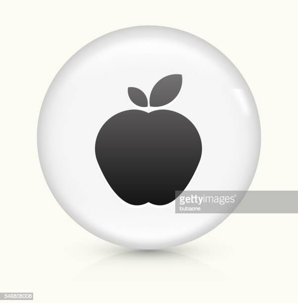 apple icon on white round vector button - juicy stock illustrations, clip art, cartoons, & icons