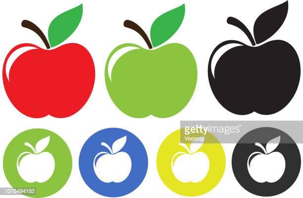 ilustraciones, imágenes clip art, dibujos animados e iconos de stock de ilustración de apple aislado en fondo blanco - manzana
