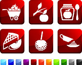 Apple Ingredient and Uses royalty free vector icon set stickers