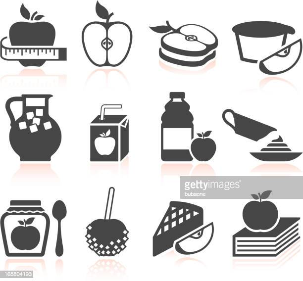 Apple Ingredient in Food black and white vector icon set