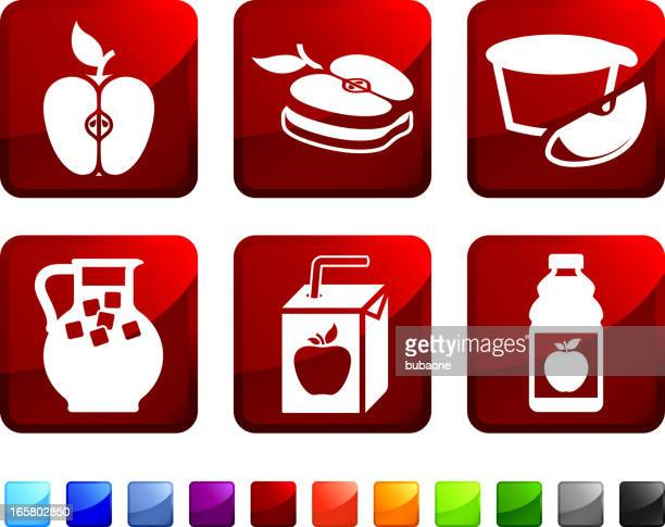Apple Ingredient royalty free vector icon set stickers