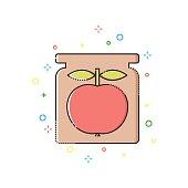 Apple jam color thin line icon