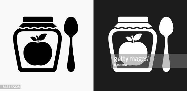 Apple Jam Icon on Black and White Vector Backgrounds