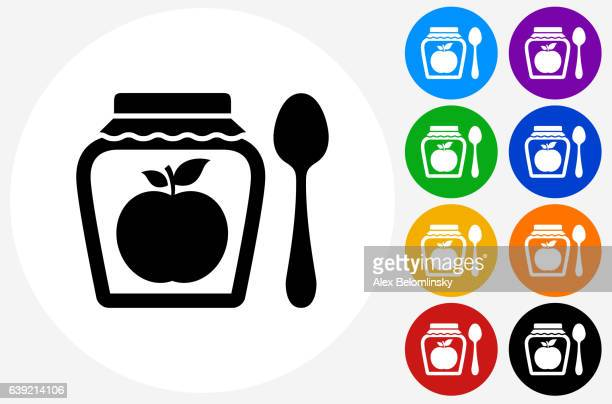 Apple Jam Icon on Flat Color Circle Buttons