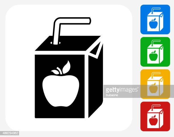Apple Juice Box Icon Flat Graphic Design